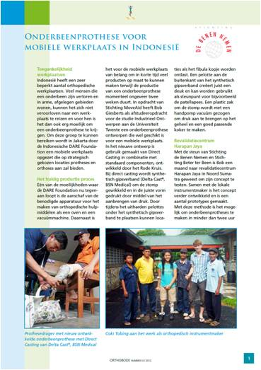 artikel van project Bob Giesberts in Orthobode